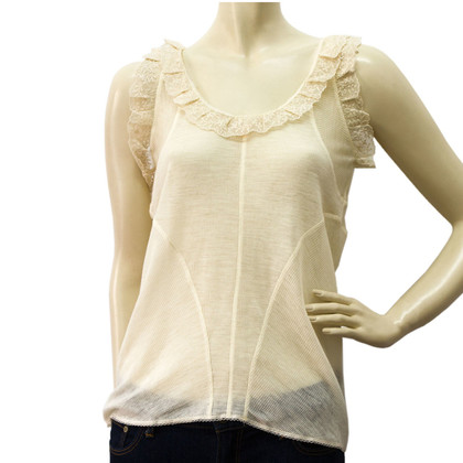 Balenciaga Cream Lace embellished Tank Top