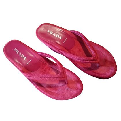 Prada Pantofole di velluto rosso