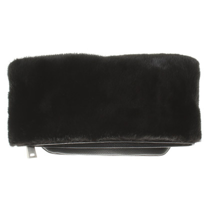 Michael Kors Leather clutch with fur trim