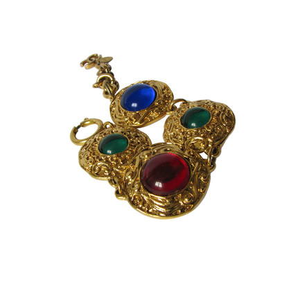 Chanel CHANEL bracelet ~ medallions with Ruby-Red emerald green & sapphire blue glass CABOCHONS