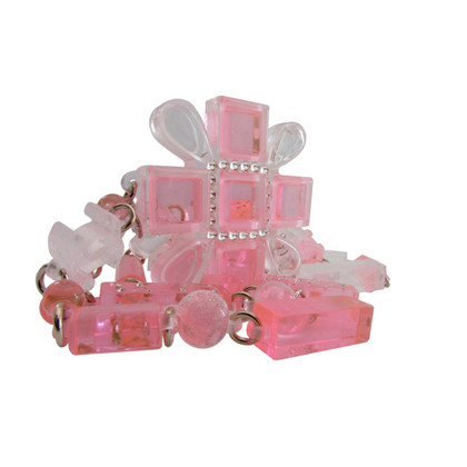 Chanel CHANEL Bubblegum pink cross chain with star dust & Swarovski Crystal beads