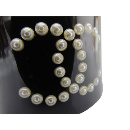 Chanel CHANEL Bangle Bracelet ~ black with frozen CC LOGO Pearl