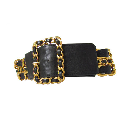 Chanel CHANEL of large three-row chain belt with leather chain belt =