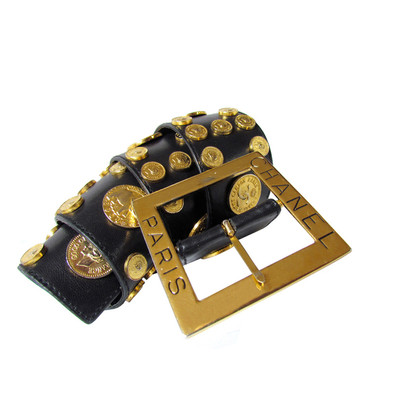 Chanel Lady GAGA CHANEL Leather Belt Belt Black fully with coins - adorable & rare