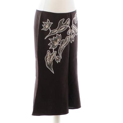 Valentino Brown linen skirt