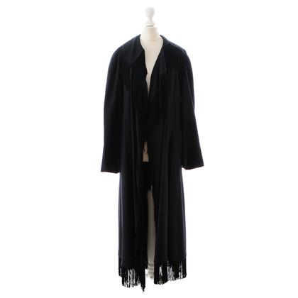Moschino Nachtblauer Mantel mit Fransen