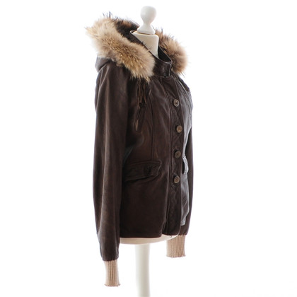 Giorgio Brato Leather jacket with fur