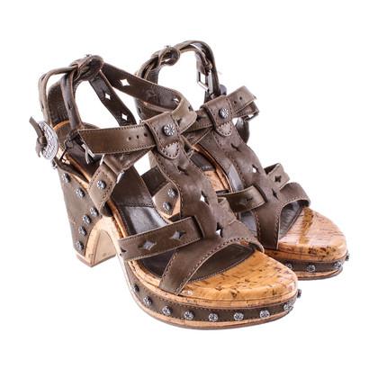 Christian Dior Sandaletten Mit Nieten Und Korksohle