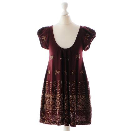 Antik Batik Bordeaux dress with beading