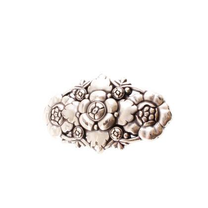 Reptile's House Fibbia in argento con motivo floreale