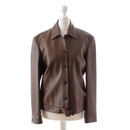 Cerruti 1881 Veste en cuir marron