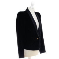 Rich & Royal Velvet Blazer with gold button