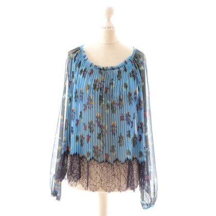 John Galliano Pleated blouse with lace
