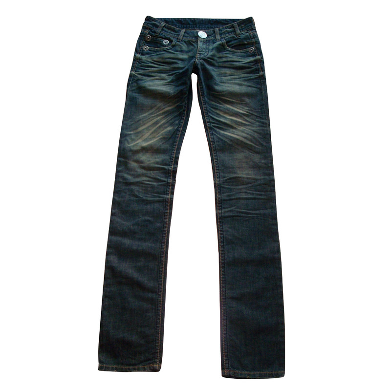 Thomas Wylde Straight leg jeans with Rhinestone skull
