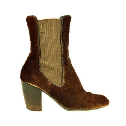 Dries van Noten Brown fur ankle boots