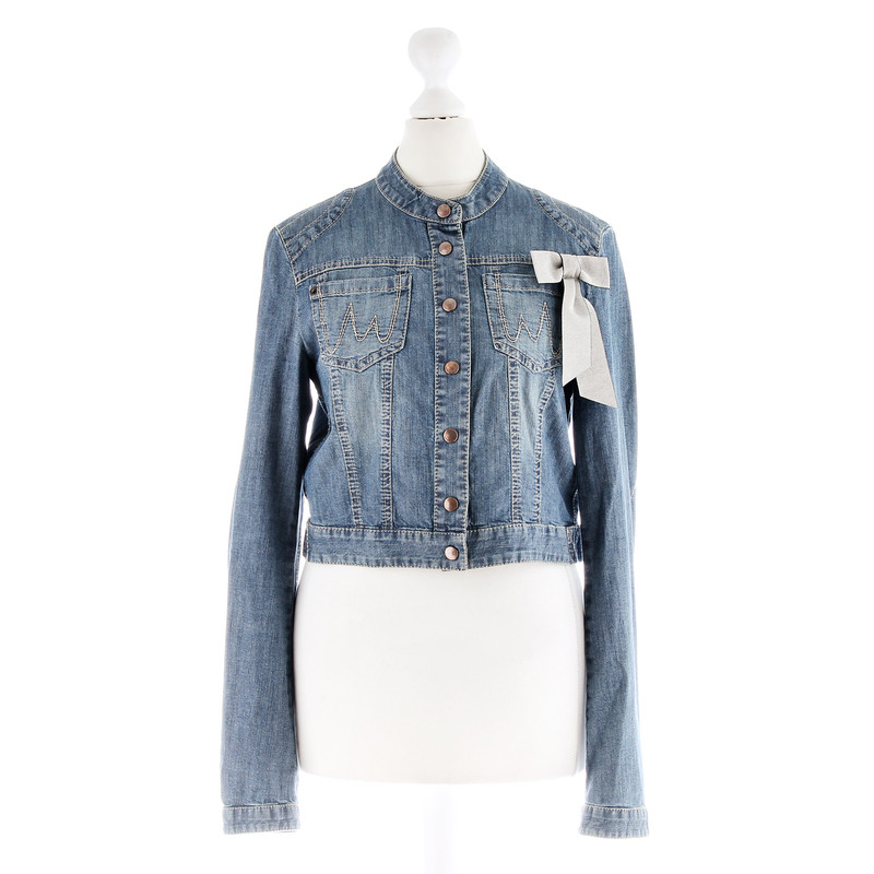 marc cain short jeans jacket with ribbon buy second hand. Black Bedroom Furniture Sets. Home Design Ideas
