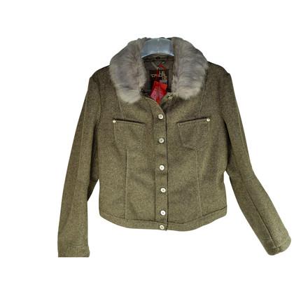 Marithé et Francois Girbaud Giacca casual in lana con collo in pelliccia