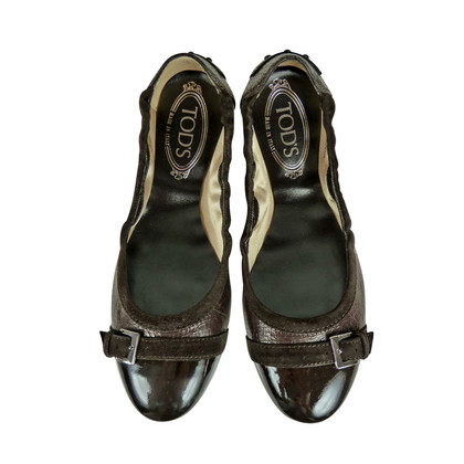 Tod's Dark brown leather ballerinas