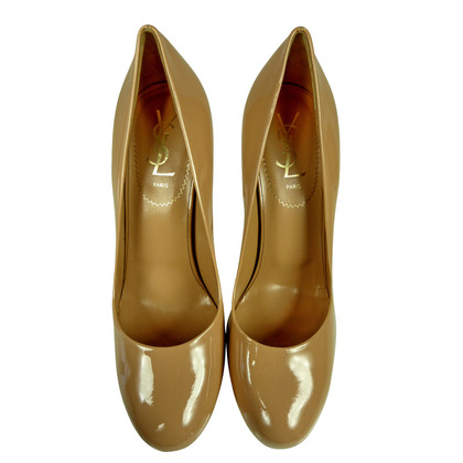 """Yves Saint Laurent """"Gisele 105 pumps"""" patent leather in beige size. 40"""