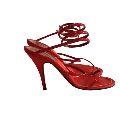 René Caovilla Red sandals with Rhinestone