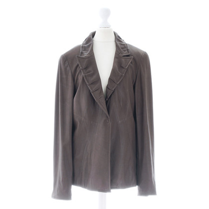 Elie Tahari Leather jacket with ruffle