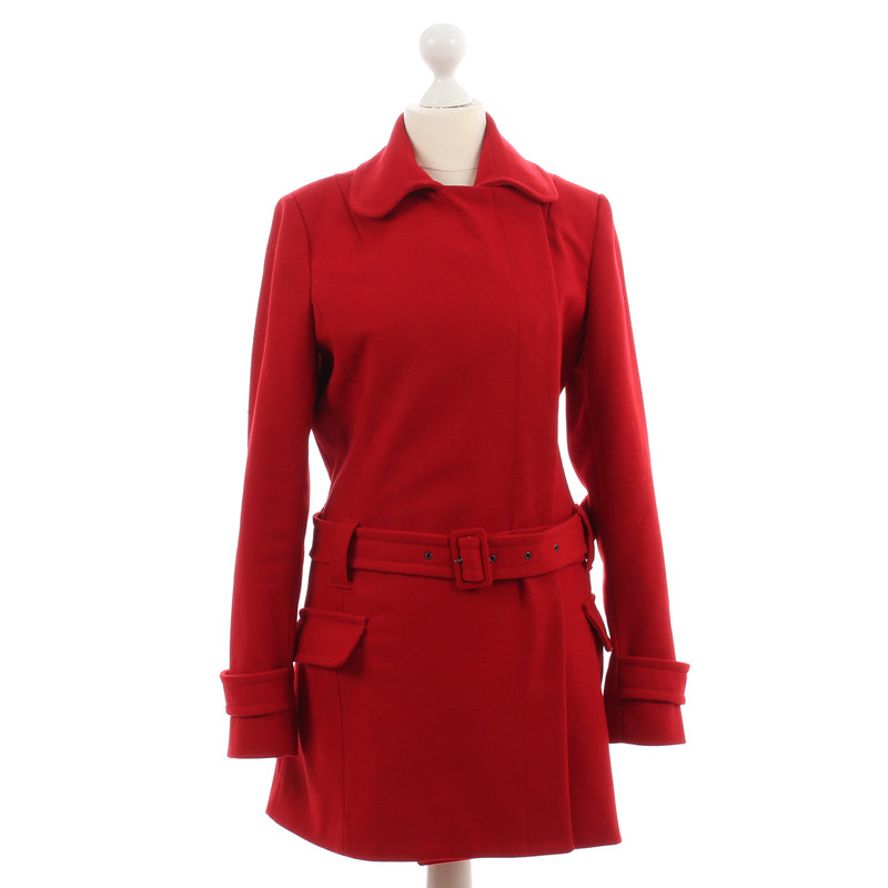French Connection Red coat with belt - Buy Second hand French ...