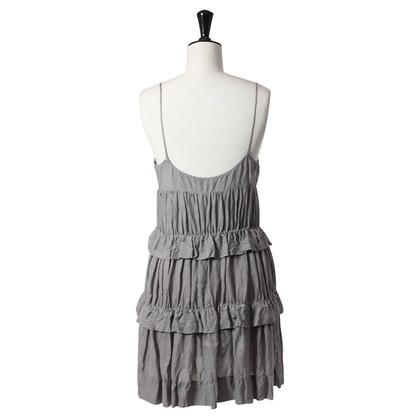 Patrizia Pepe Grijze ruffle jurk
