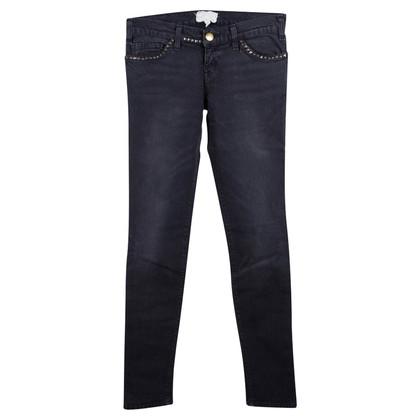 Current Elliott Schwarze Skinny-Jeans mit Nieten