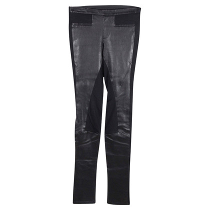 Helmut Lang Black leggings with leather inserts