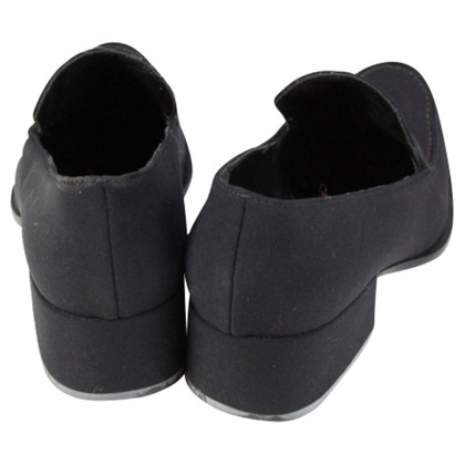 Prada Black textile fabric slippers with a heel