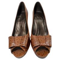 Stuart Weitzman brown peep-toes