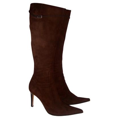 Sergio Rossi Dark brown suede boots