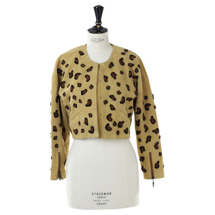Minimarket Suede jacket with Leopard embroidery