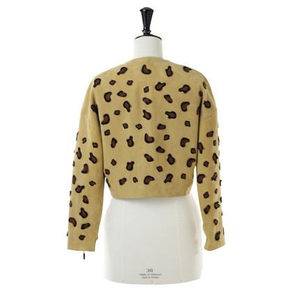Minimarket Giacca in pelle scamosciata con ricamo di Leopard