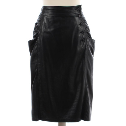 Emanuel Ungaro Black leather skirt