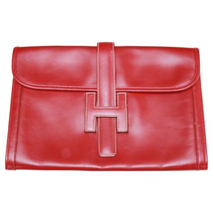 """Hermès """"Jige"""" clutch in red"""
