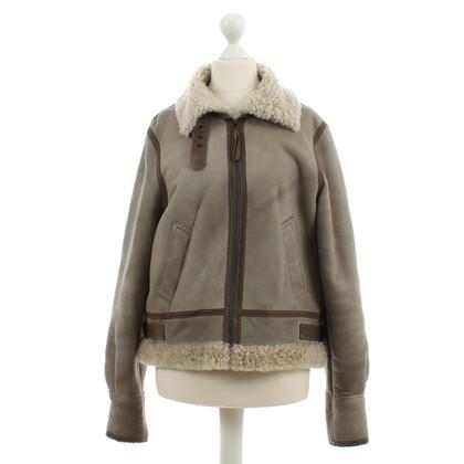 Comptoir des Cotonniers Leather jacket with fur