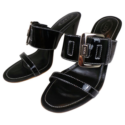 Tod's TOD'S BB´S SANDALS IN BLACK WITH SILVER CLASP