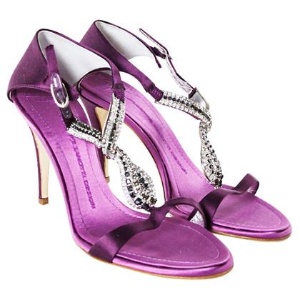 Giuseppe Zanotti Purple satin sandals with Rhinestone