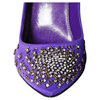 Sergio Rossi Purple satin pumps with Rhinestone