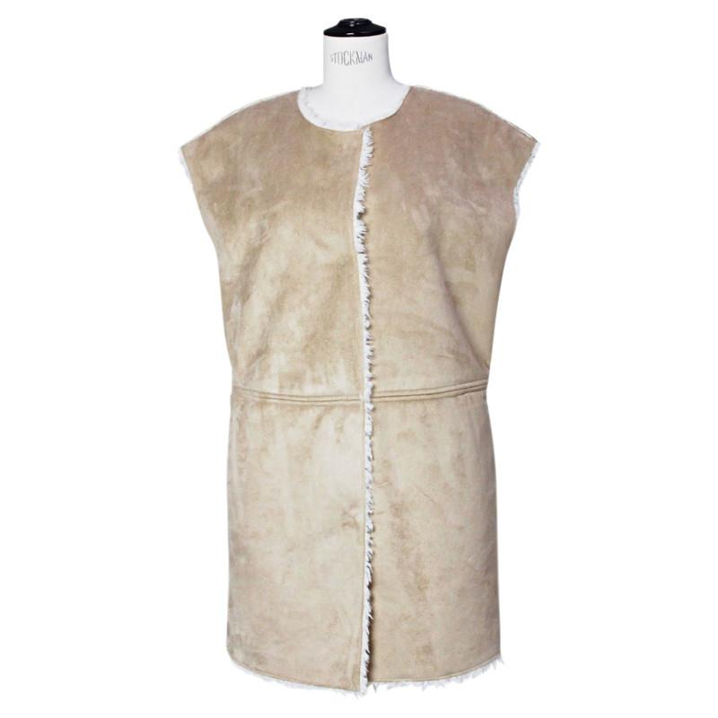 Velvet Beige faux suede and white faux fur vest
