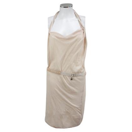 Patrizia Pepe Beige crewneck neckholder dress
