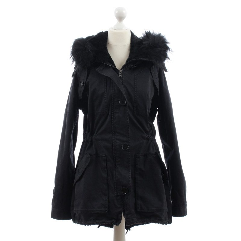 blonde no8 black real fur parka buy second hand blonde. Black Bedroom Furniture Sets. Home Design Ideas