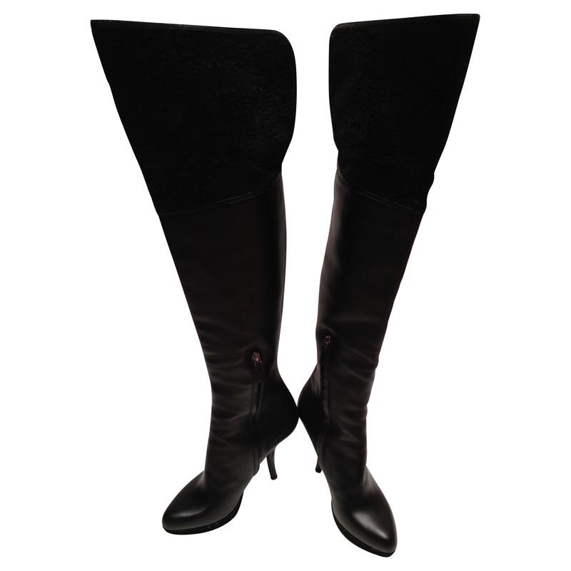 Christian Dior Zwarte Overknees