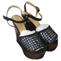 Marc by Marc Jacobs Black navy wooden platform wedge