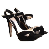 Sergio Rossi Black sandals with white decor