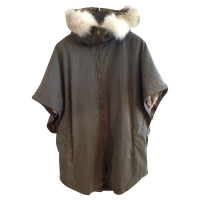 Yves Salomon Parka Cape in Khaki