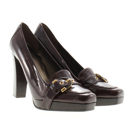 Stuart Weitzman Brown Lack-Pumps
