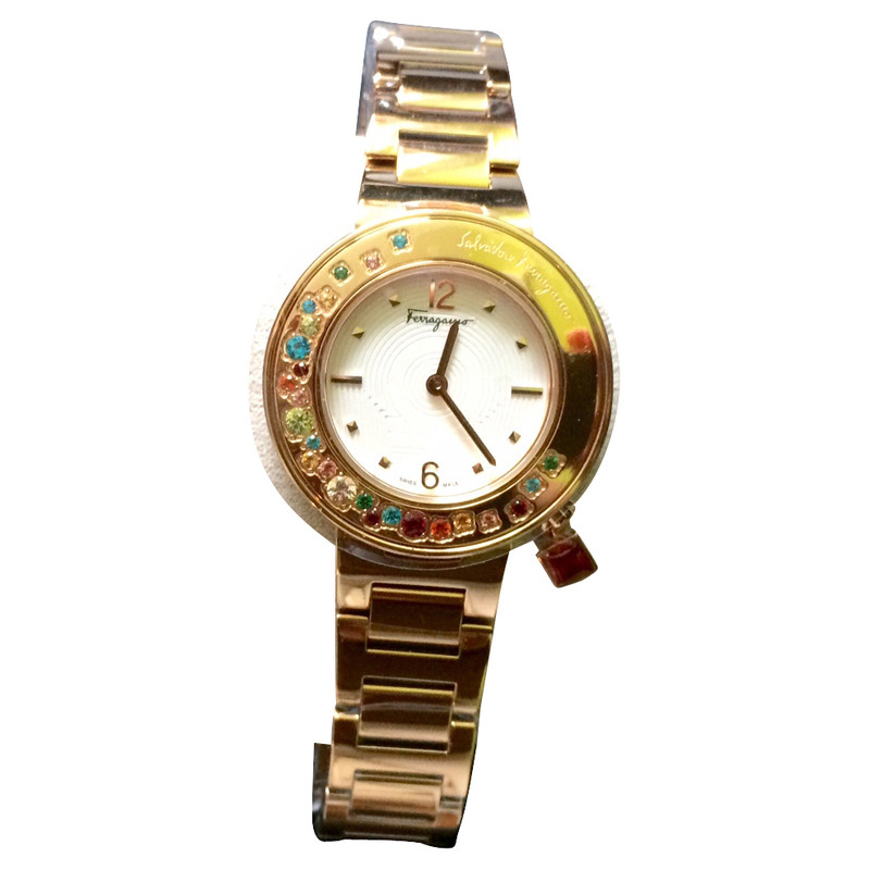 Salvatore Ferragamo Gancino Bracelet Watch in stainless steel with Topaz