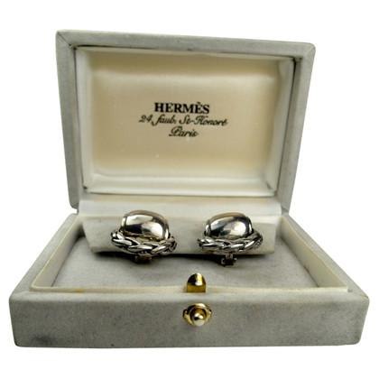 Hermès Silberfarbene Ohrringe